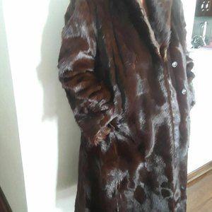 Lady Espresso  Calf Hair Fur Coat Stroller M L